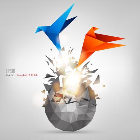 Origami Papier-Vogel auf abstrakten Hintergrund Standard-Bild - 38100769