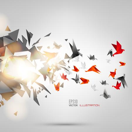 mosca caricatura: Origami pájaro de papel en el fondo abstracto
