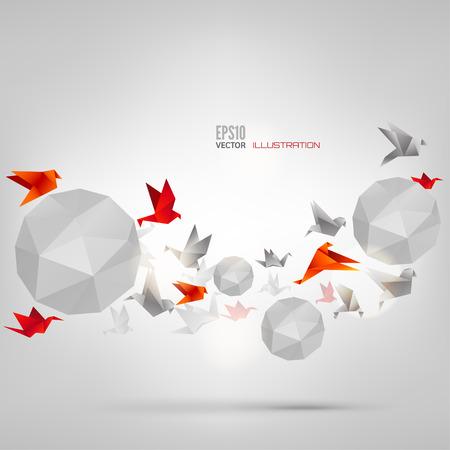 Origami pájaro de papel en el fondo abstracto