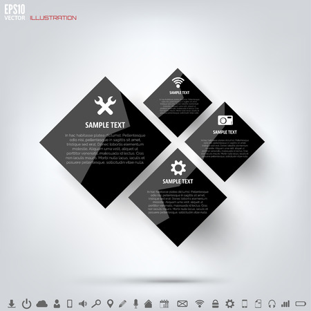 Black cloud computing background with web icons. Social network. Mobile app. Infographic elements. Illustration