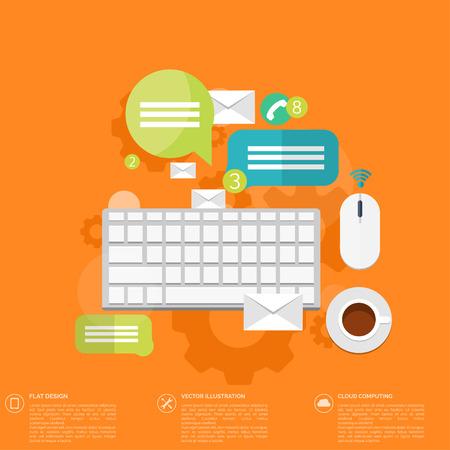 klawiatura: Ikona płaska klawiatura. Kontakt, koncepcja sieci społecznej. Globalnej komunikacji, czat.