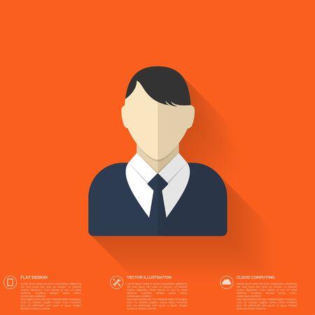 Male user profile avatar flat long shadow vector icon. Vector