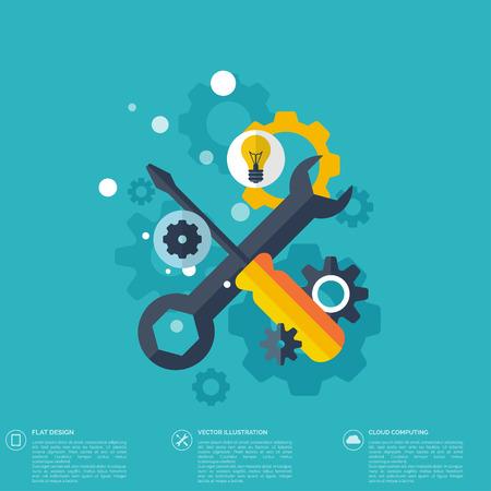 mantenimiento: Icono de reparaci�n plana. Concepto de servicio mec�nico. Para crear un sitio Web. Vectores