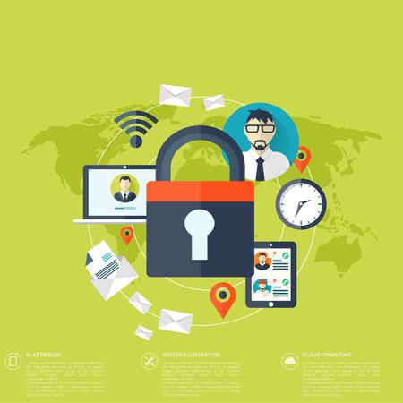 seguridad social: Icono de candado plana. Concepto de protecci�n de datos. Seguridad de la red social