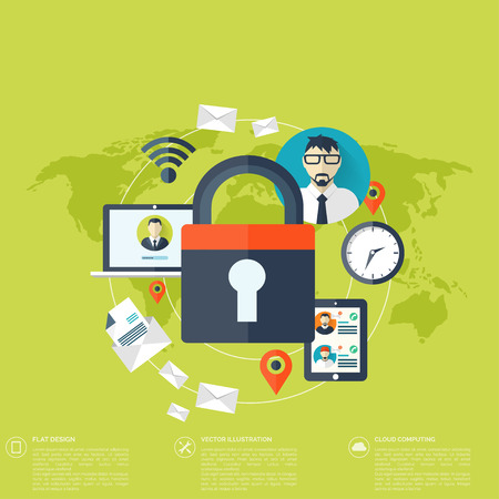 Flat padlock icon. Data protection concept. Social network security