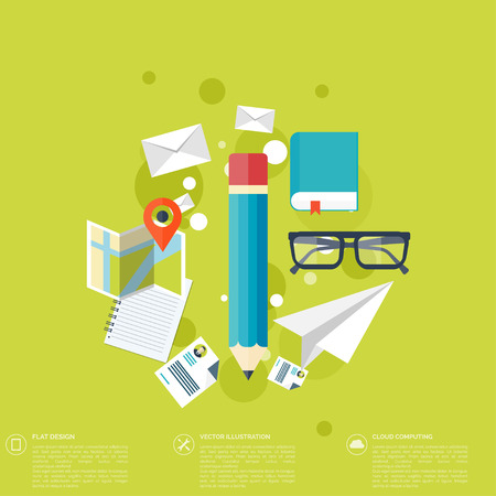 briefing: Flat background with papers.Temwork concept. Global communication and working expierence. Business, briefing organization. Money making and analyzing. Illustration