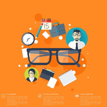 briefing: Flat background with papers and glasses icon.Temwork concept. Global communication and working expierence. Business, briefing organization. Money making and analyzing.