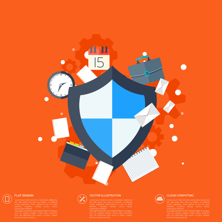 Flat shield icon. Data protection concept. Social network security