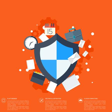 seguridad social: Icono del escudo plana. Concepto de protecci�n de datos. Seguridad de la red social Vectores