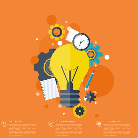 Flat bulb. Education concept background. Success achievement.