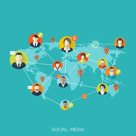 Wohnung Social-Media-und Netzwerk-Konzept. Business-Hintergrund, die globale Kommunikation. Website-Profil Avatare. Verbindung zwischen den Menschen. Forum Karte. Standard-Bild - 38098479