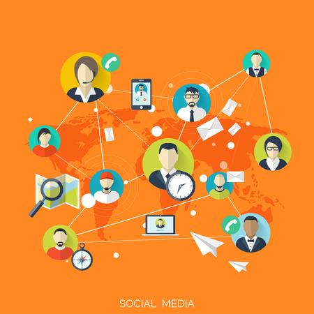 globális kommunikációs: Lapos szociális média és a hálózati koncepció. Üzleti háttér, a globális kommunikáció. Webhely profil avatarok. Csatlakozás az emberek között. Fórum térképen. Illusztráció