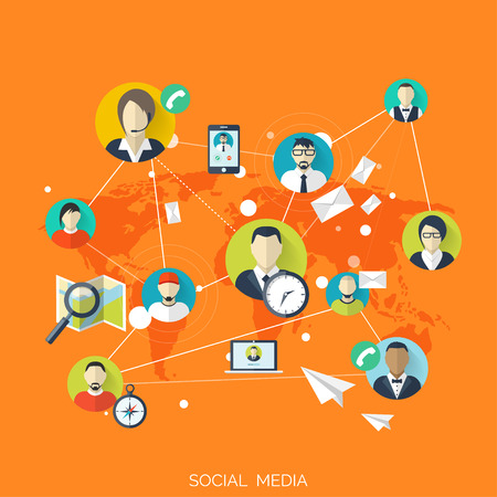 Flat social media and network concept. Business background, global communication. Web site profile avatars. Connection between people. Forum map.
