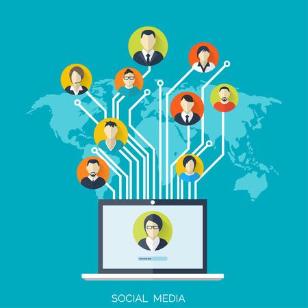 Platte sociale media en netwerk concept. Zakelijke achtergrond, wereldwijde communicatie. Website profiel avatars. Verbinding tussen mensen. Forum kaart.