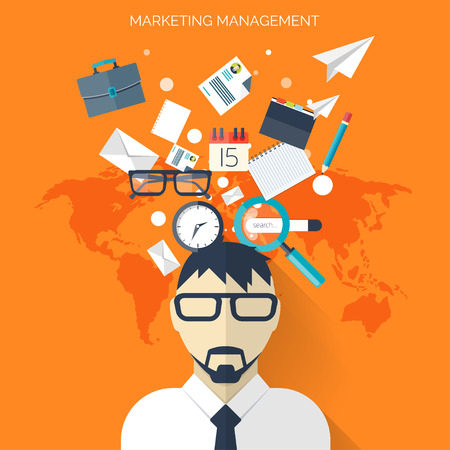 briefing: Flat business background with papers.Temwork concept. Global communication and working expierence. Business, briefing organization. Money making and analyzing. Illustration