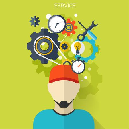 平らな修理サービスの背景。メカニック サービス コンセプト。Web サイトを作成します。