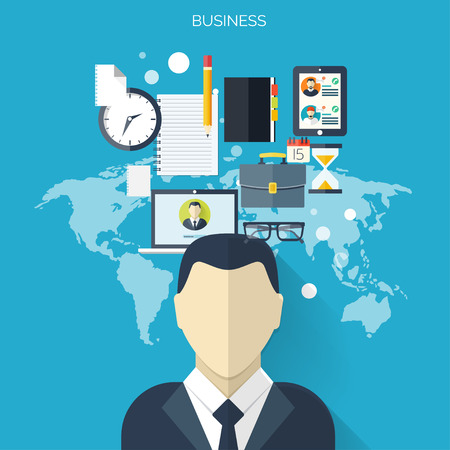 briefing: Business flat background with papers.Temwork concept. Global communication and working expierence. Business, briefing organization. Money making and analyzing. Illustration
