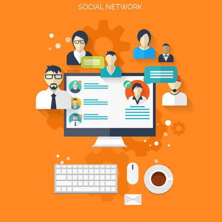 profile: Flat social media and network concept. Business background, global communication. Web site profile avatars. Connection between people. Forum map.