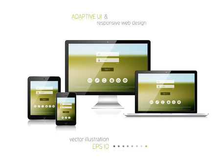 web design template: Responsive web design. Adaptive user interface. Digital devises. Laptop, tablet, monitor, smartphone. Web site template concept.