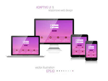 monitor: Responsive web design. Adaptive user interface. Digital devises. Laptop, tablet, monitor, smartphone. Web site template concept.
