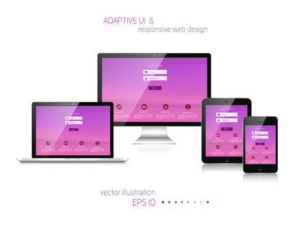 Responsive Webdesign. Adaptive Benutzeroberfläche. Digitale erarbeitet. Laptop, Tablet, Monitor, Smartphone. Website Template-Konzept. Standard-Bild - 38097130