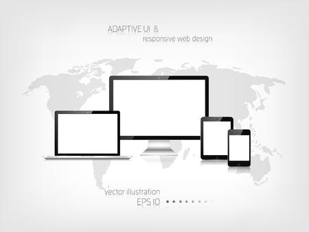 Responsive Webdesign. Adaptive Benutzeroberfläche. Digitale erarbeitet. Laptop, Tablet, Monitor, Smartphone. Website Template-Konzept. Standard-Bild - 38097129