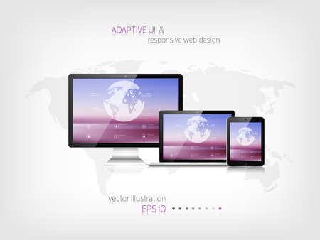 web site: Responsive web design. Adaptive user interface. Digital devises. Laptop, tablet, monitor, smartphone. Web site template concept.