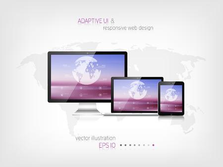 adaptive: Responsive web design. Adaptive user interface. Digital devises. Laptop, tablet, monitor, smartphone. Web site template concept.