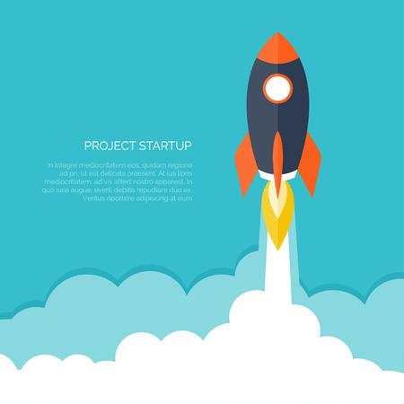 brandweer cartoon: Platte raket pictogram. Startup concept. Projectontwikkeling.