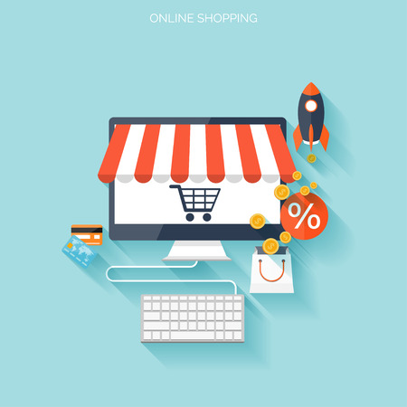 Internet shopping concept. E-commerce. Online store. Web money and payments. Pay per click. Çizim