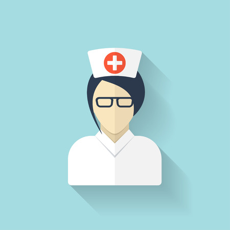 medical doctor: Flat medical doctor icon. Account profile avatar. Health care.