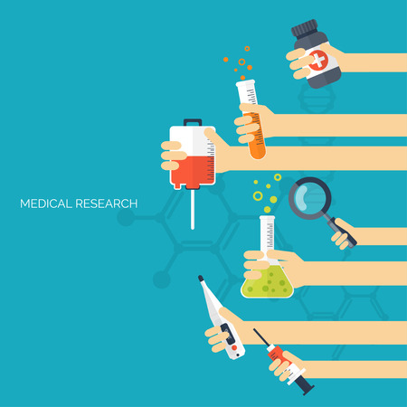 Flat health care and medical research background. Healthcare system concept. Medicine and chemical engineering. 일러스트