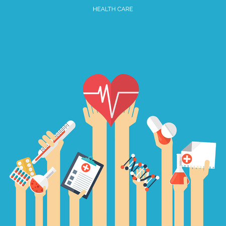 Flat health care and medical research background. Healthcare system concept. Medicine and chemical engineering. Ilustração