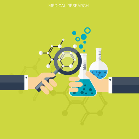 chemical engineering: Flat health care and medical research background. Healthcare system concept. Medicine and chemical engineering. Illustration