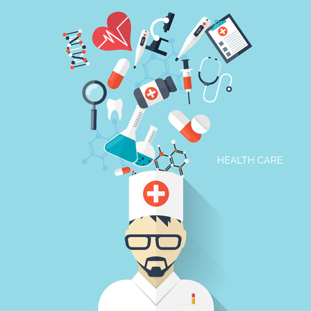 health care: Flat health care and medical research background. Healthcare system concept. Medicine and chemical engineering. Illustration