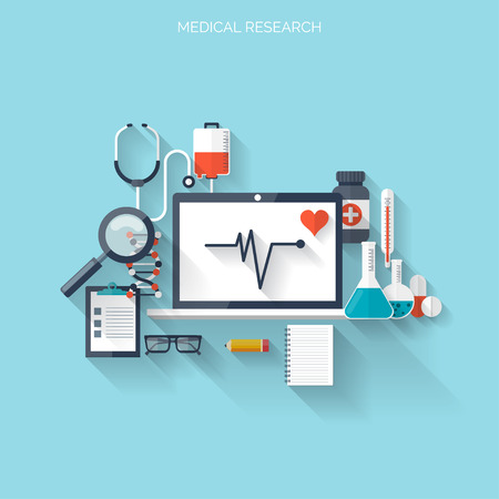 Flat health care and medical research background. Healthcare system concept. Medicine and chemical engineering. Illusztráció