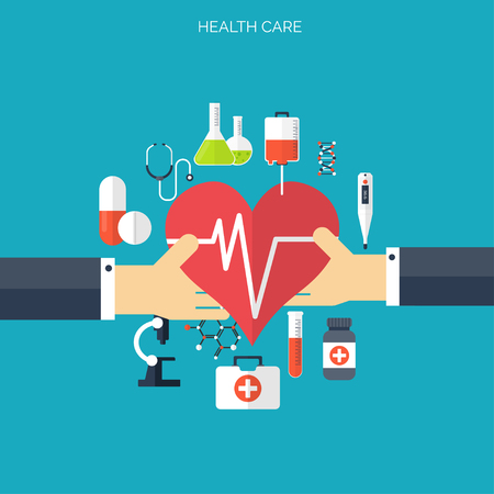 Wohnung Gesundheitswesen und medizinische Forschung Hintergrund. Gesundheitswesen Konzept. Medizin und Verfahrenstechnik. Standard-Bild - 38110417