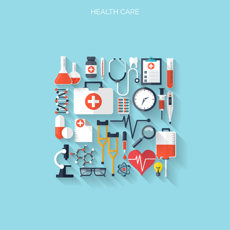 Flat health care and medical research background. Healthcare system concept. Medicine and chemical engineering. Illustration