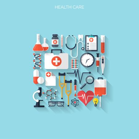 Wohnung Gesundheitswesen und medizinische Forschung Hintergrund. Gesundheitswesen Konzept. Medizin und Verfahrenstechnik. Standard-Bild - 38110422