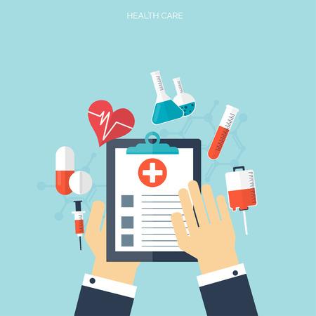 Wohnung Gesundheitswesen und medizinische Forschung Hintergrund. Gesundheitswesen Konzept. Medizin und Verfahrenstechnik. Standard-Bild - 38110420