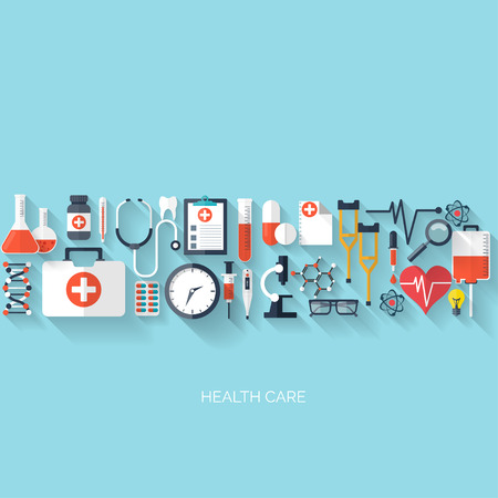 Flat health care and medical research background. Healthcare system concept. Medicine and chemical engineering. Stock Illustratie