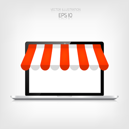 Internet shopping concept. Realistic laptop. E-commerce. Online store. Web money and payments. Pay per click. Illustration