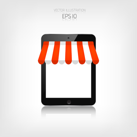 internet shopping: Internet shopping concept. Realistic tablet. E-commerce. Online store. Web money and payments. Pay per click. Illustration