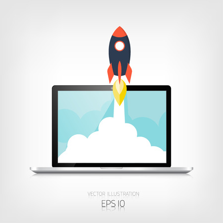 Flat rocket icon. Startup concept. Project development. Realistic laptop.