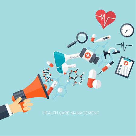 Chăm sóc sức khỏe bằng phẳng và nền nghiên cứu y học. Hệ thống chăm sóc sức khỏe khái niệm. Y học và kỹ thuật hóa học.