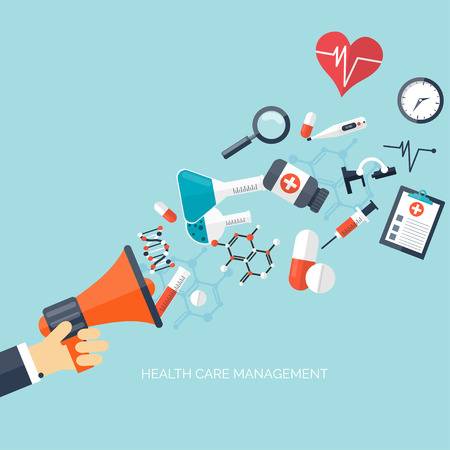care: Flat health care and medical research background. Healthcare system concept. Medicine and chemical engineering. Illustration