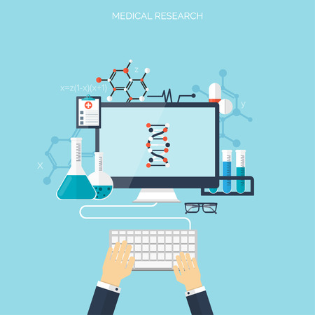 healthcare: Flat health care and medical research background. Healthcare system concept. Medicine and chemical engineering. Illustration