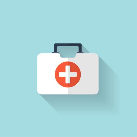 Botiquín de primeros auxilios icono plana. Cuidado de la salud.