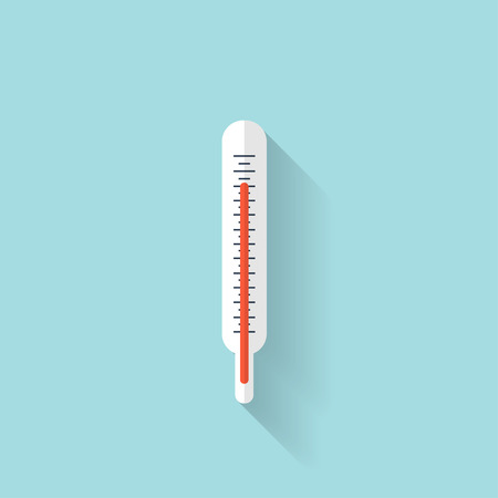 glass thermometer: Medical thermometer flat icon.  Health care. Illustration