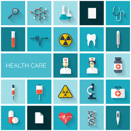 chemical engineering: Flat health care and medical research icon set. Healthcare system concept. Medicine and chemical engineering.  First aid and diagnostic equipment.